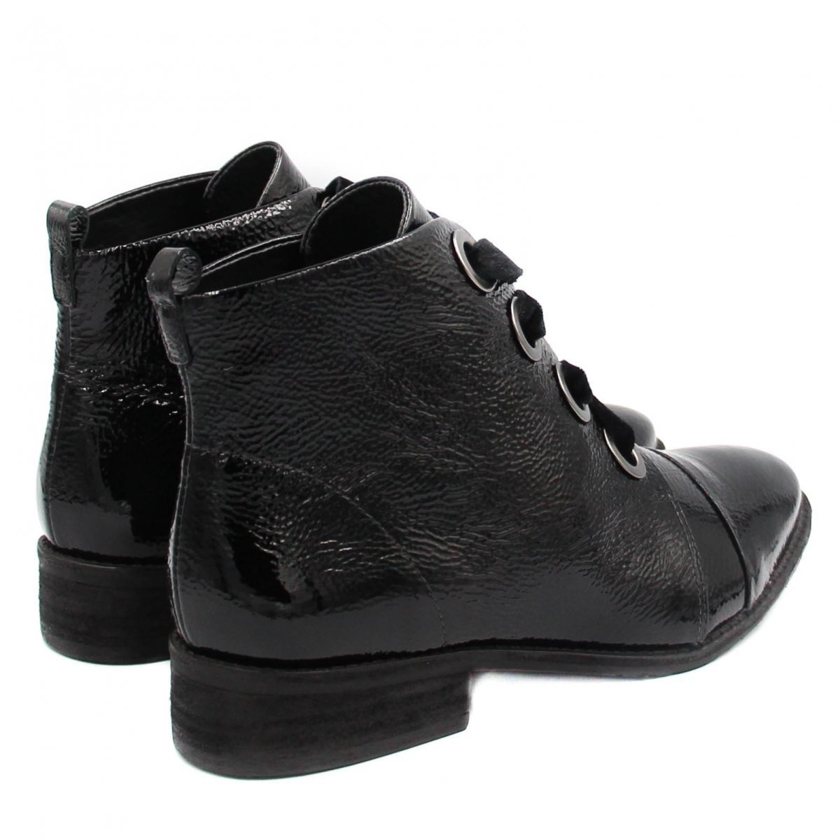 Preto Boot Shoes Zariff Feminina Bota Verniz Curto Cano Ankle 4U48O