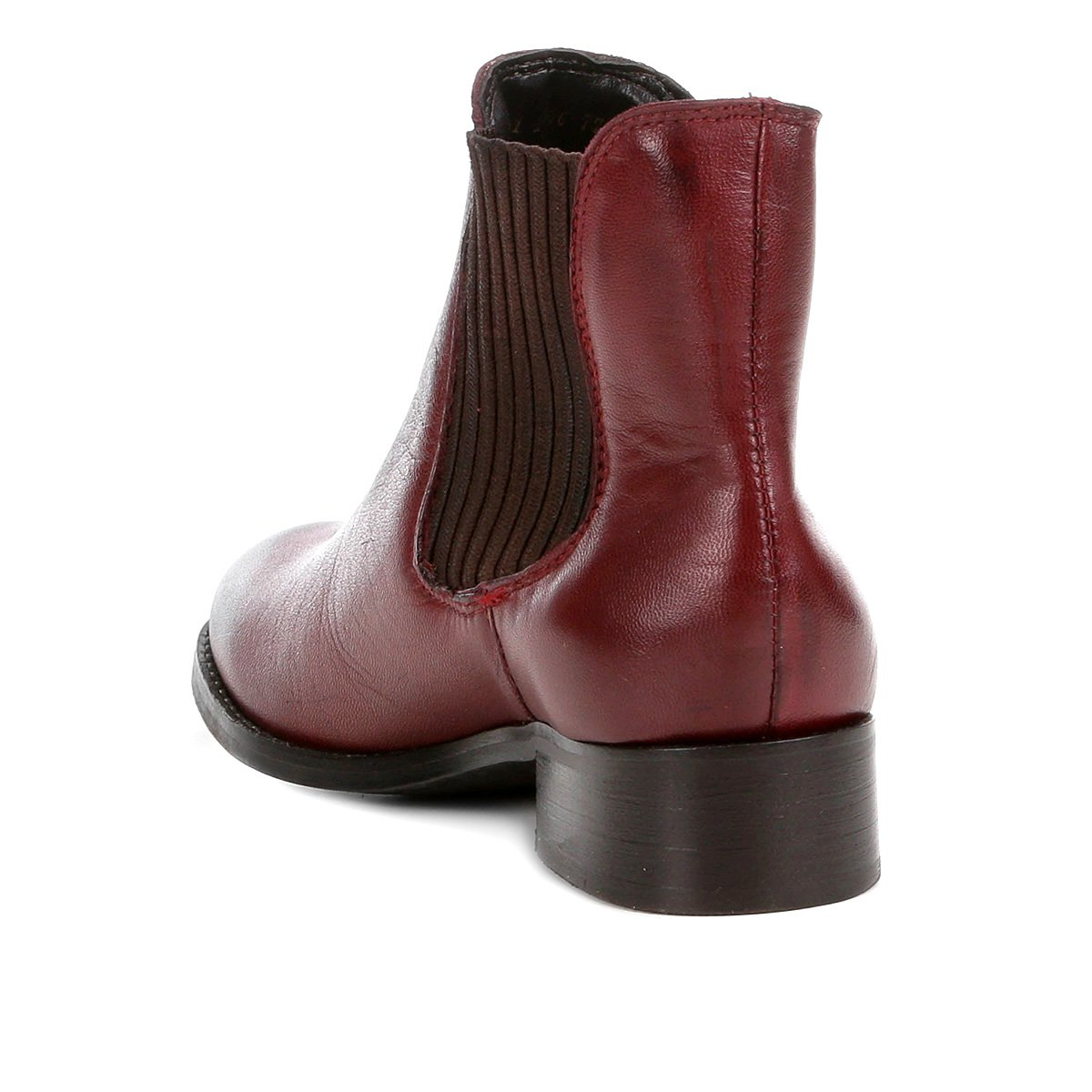Bota Chelsea Shoestock Flat Couro Feminina - Bordô
