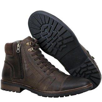 Bota Coturno Couro Tchwm Shoes Ziper Lateral Masculina