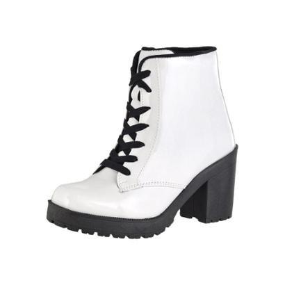 Bota Coturno Cr Shoes Verniz Feminina-Feminino