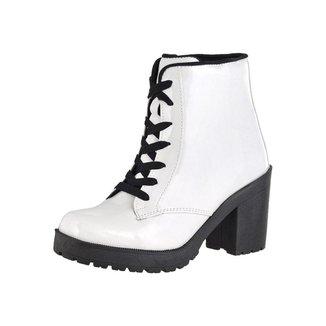 Bota Coturno CR Shoes Verniz Feminina