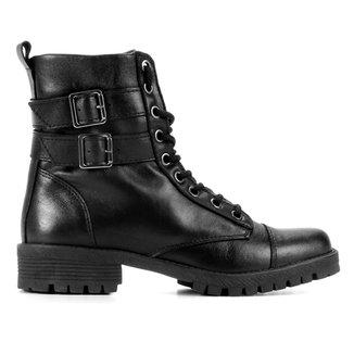 Bota Coturno Shoestock Couro Fivelas Feminina