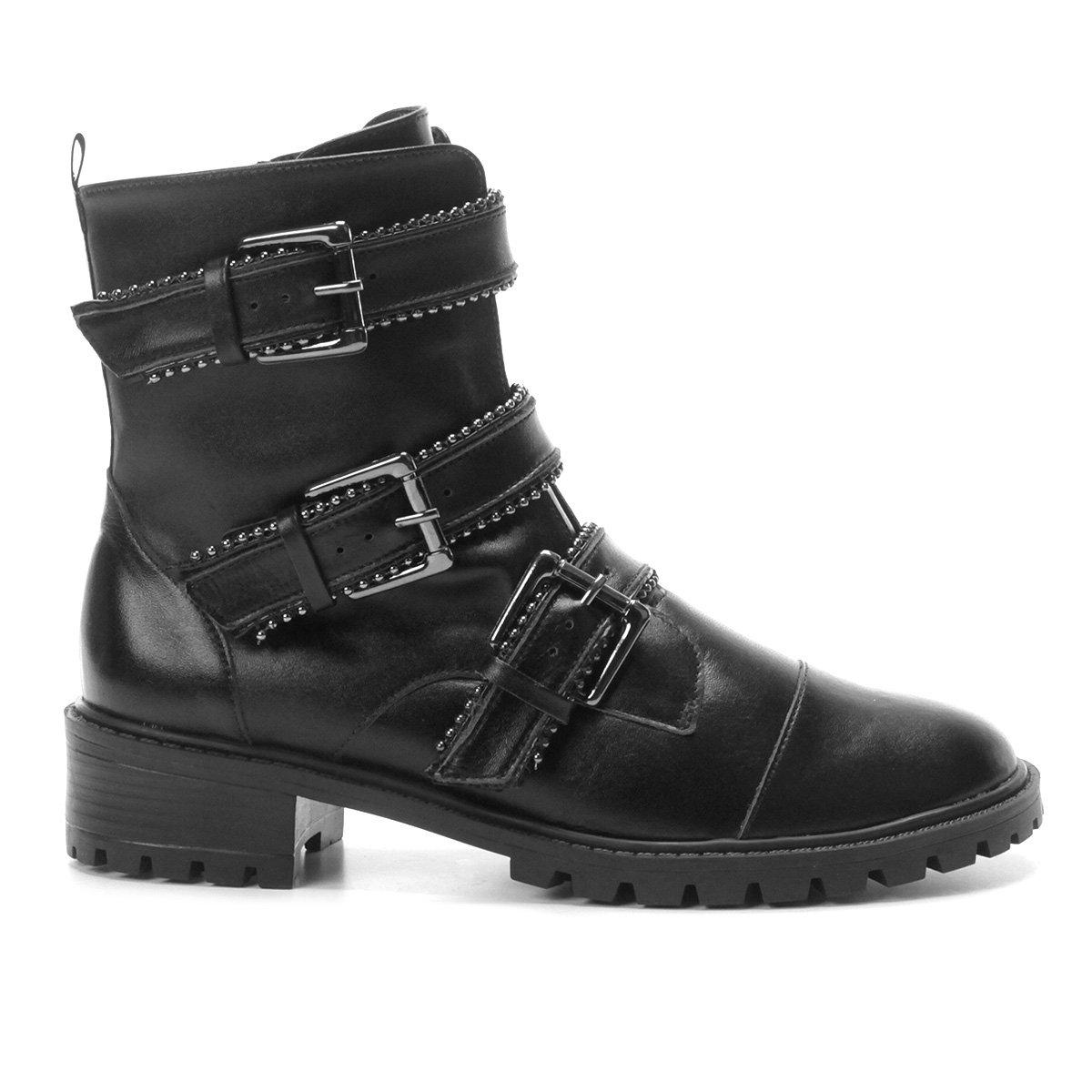 e918d463a Bota Coturno Shoestock Couro Fivelas Feminina | Zattini