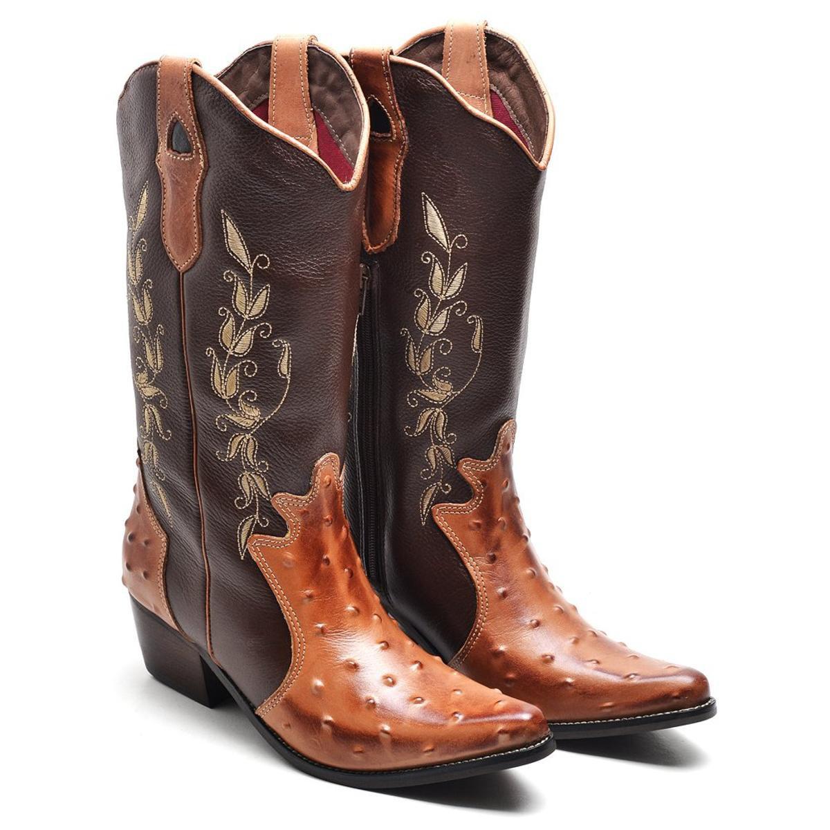 Bota Country Bico Fino Top Franca Shoes Feminina - Dourado e Marrom ...  555f94360ccc8d  Top Franca Shoes Impecável Sapato Social Masculino Couro ... c869aa9bbc6