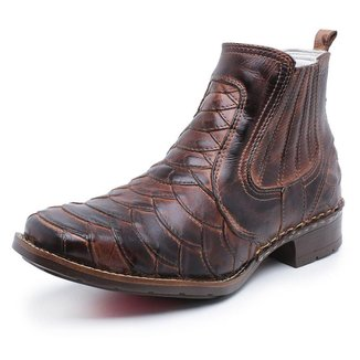 Bota Country Couro Jna Shoes Escamada Masculina