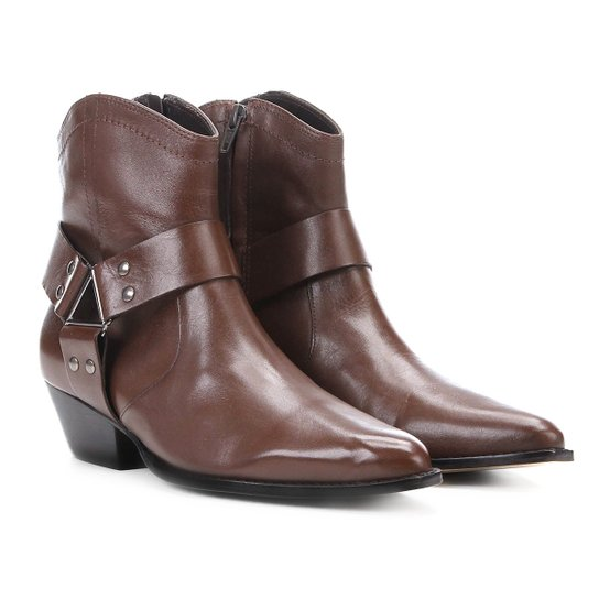 Bota Country Shoestock Western Ferragem Feminina - Café