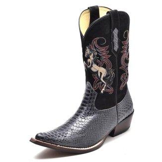 Bota Country Top Franca Shoes Bico Fino Anaconda Masculina