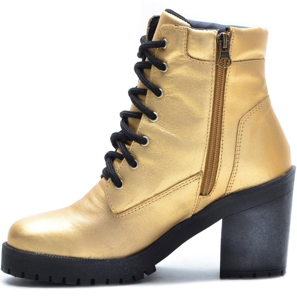 Bota Shoes Curto Cano Couro Feminina Couro Dourado Bota Atron 7xvwq71r