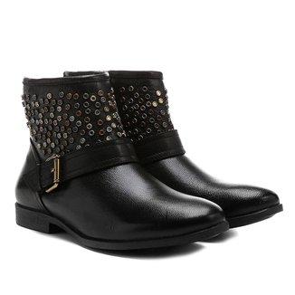 Bota Couro Biker Shoestock Tachas Feminina