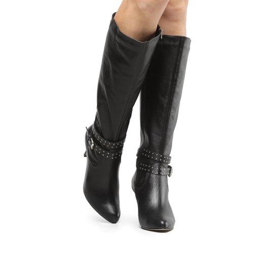 Bota Couro Cano Alto Shoestock Tira Hotfix Feminina - Preto