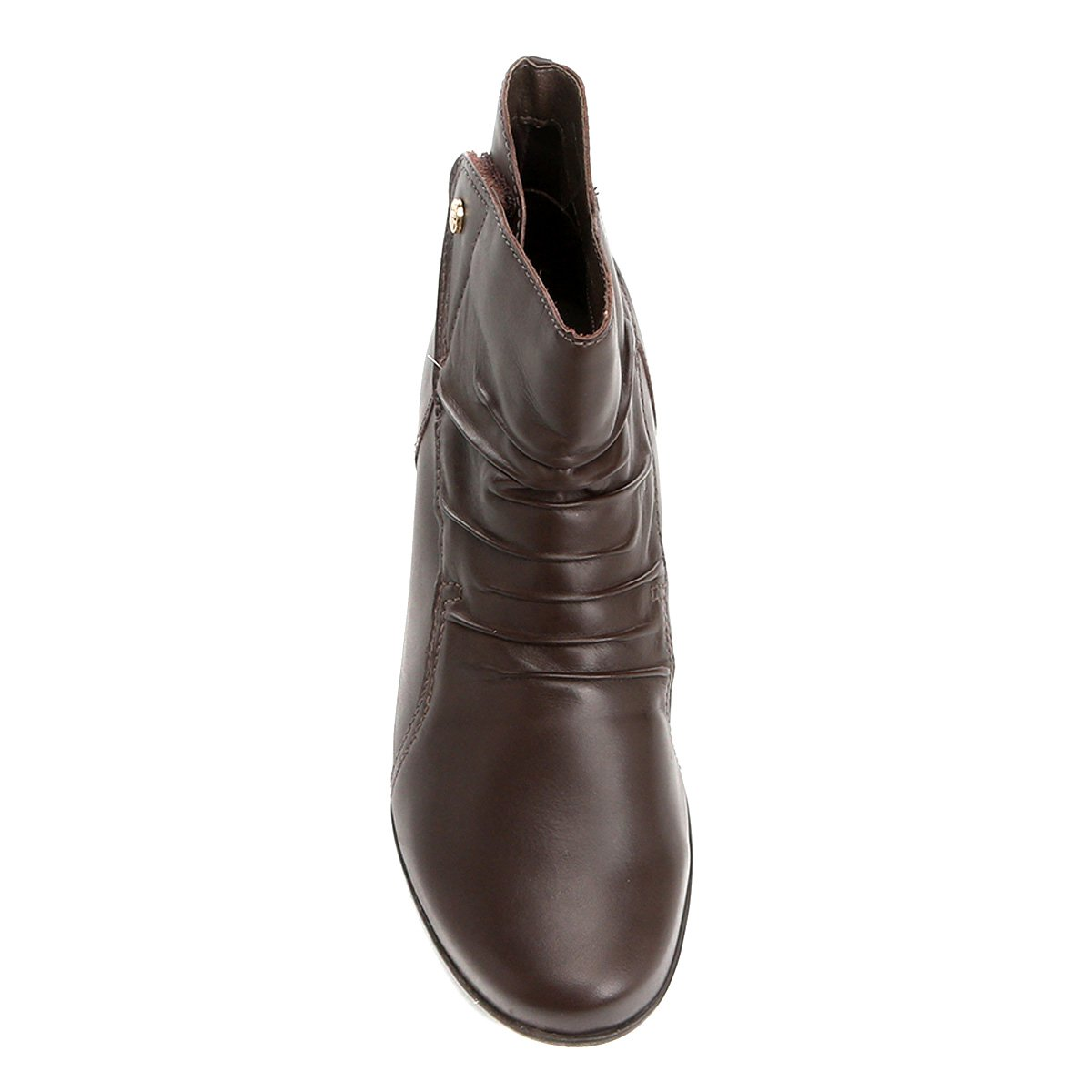 Bota Couro Cano Curto Bottero Drapeada Velcro Feminina - Compre ... 04e88ec87ca1d