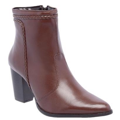 Bota Couro Cano Curto D&R Shoes Salto Grosso Feminina