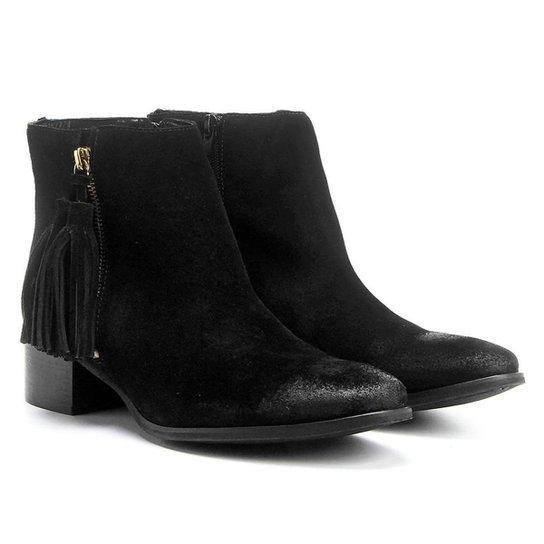 Bota Couro Cano Curto Shoestock Barbicacho Feminino - Preto