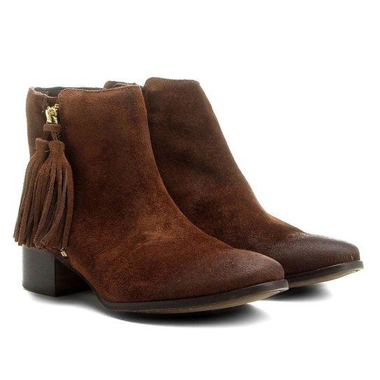 Bota Couro Cano Curto Shoestock Barbicacho Feminino - Marrom