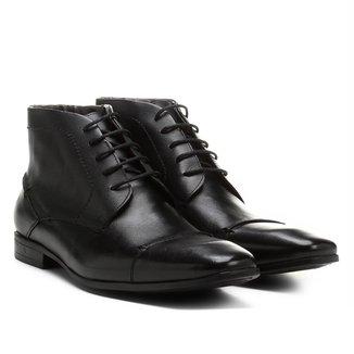 Bota Couro Cano Curto Shoestock Bico Quadrado Masculina
