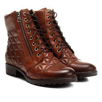 Bota Couro Cano Curto Shoestock Coturno Matelassê Feminina