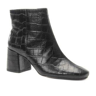Bota Couro Cano Curto Shoestock Croco Feminina