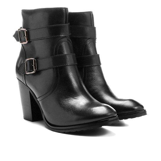 Bota Couro Cano Curto Shoestock Fivelas - Preto
