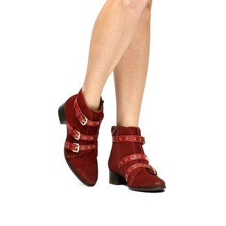 Bota Couro Cano Curto Shoestock Ilhós Feminina
