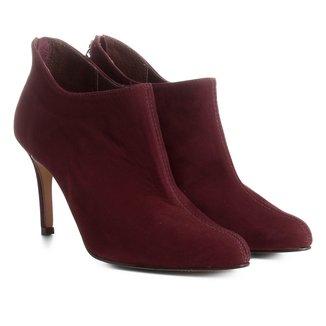 Bota Couro Cano Curto Shoestock Ondas Salto Alto Feminina