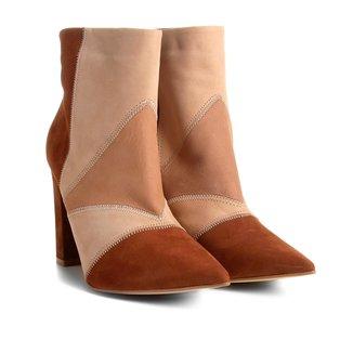Bota Couro Cano Curto Shoestock Patchwork Feminina