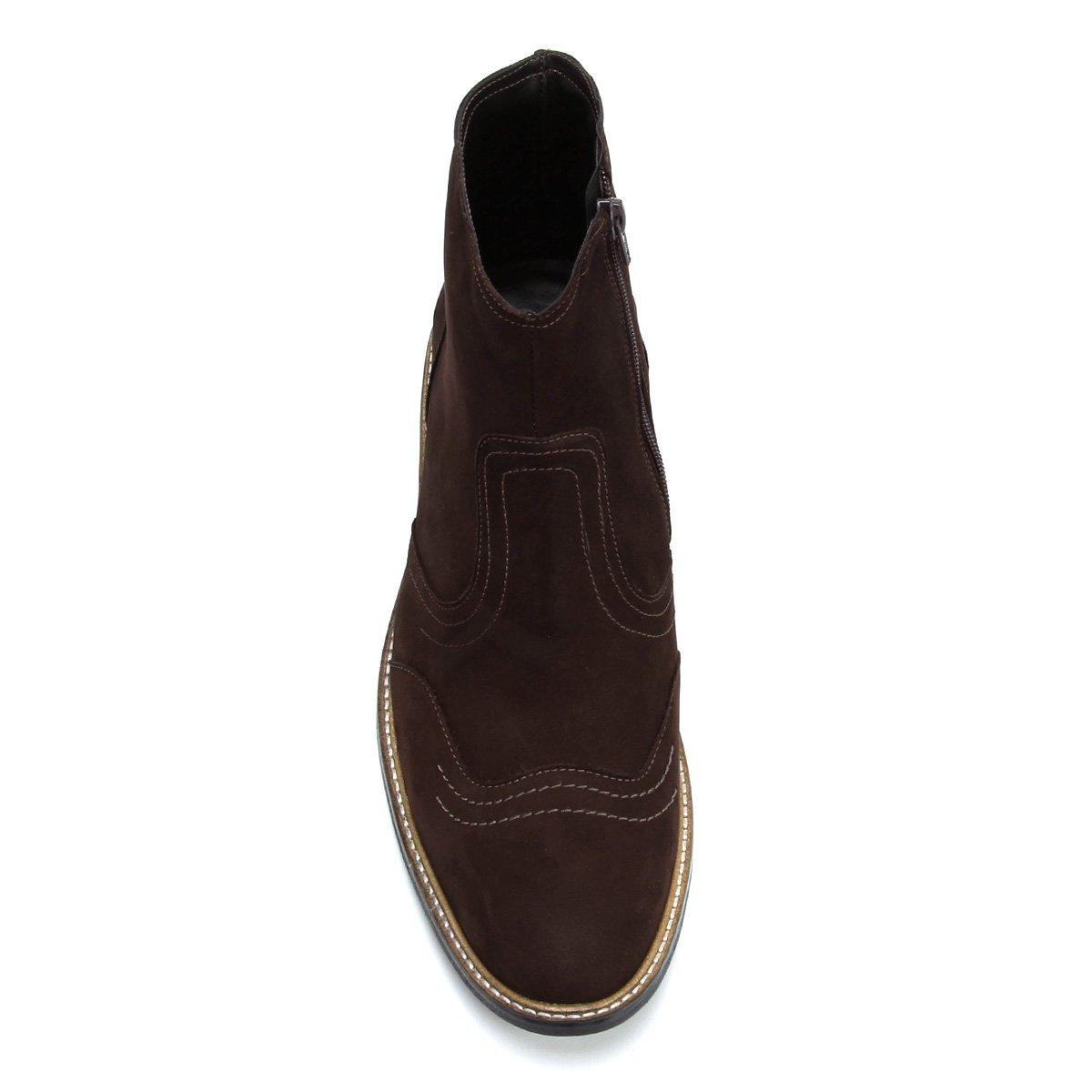 Bota Cano Café Couro Curto Couro Shoestock Masculina Bota Recortes x6xwz