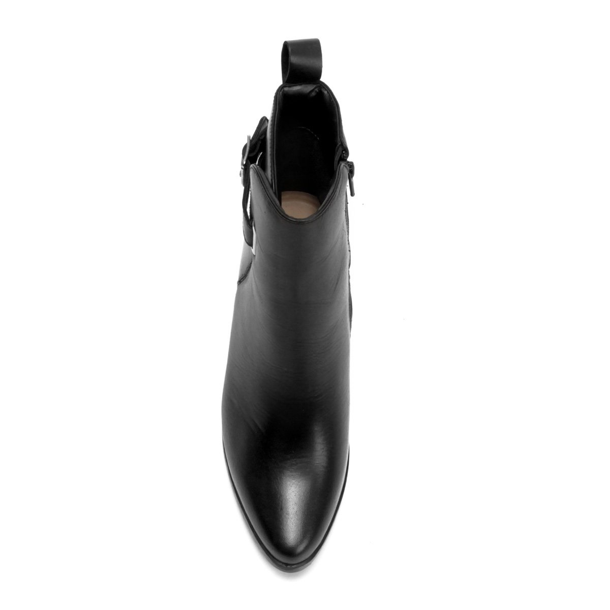 Feminina Bota Curto Couro Salto Bota Couro Preto Shoestock Cano Alto 8qUZqxF