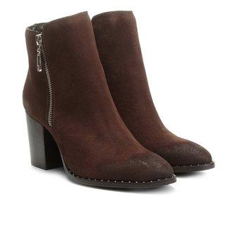 Bota Couro Cano Curto Shoestock Salto Bloco Feminina