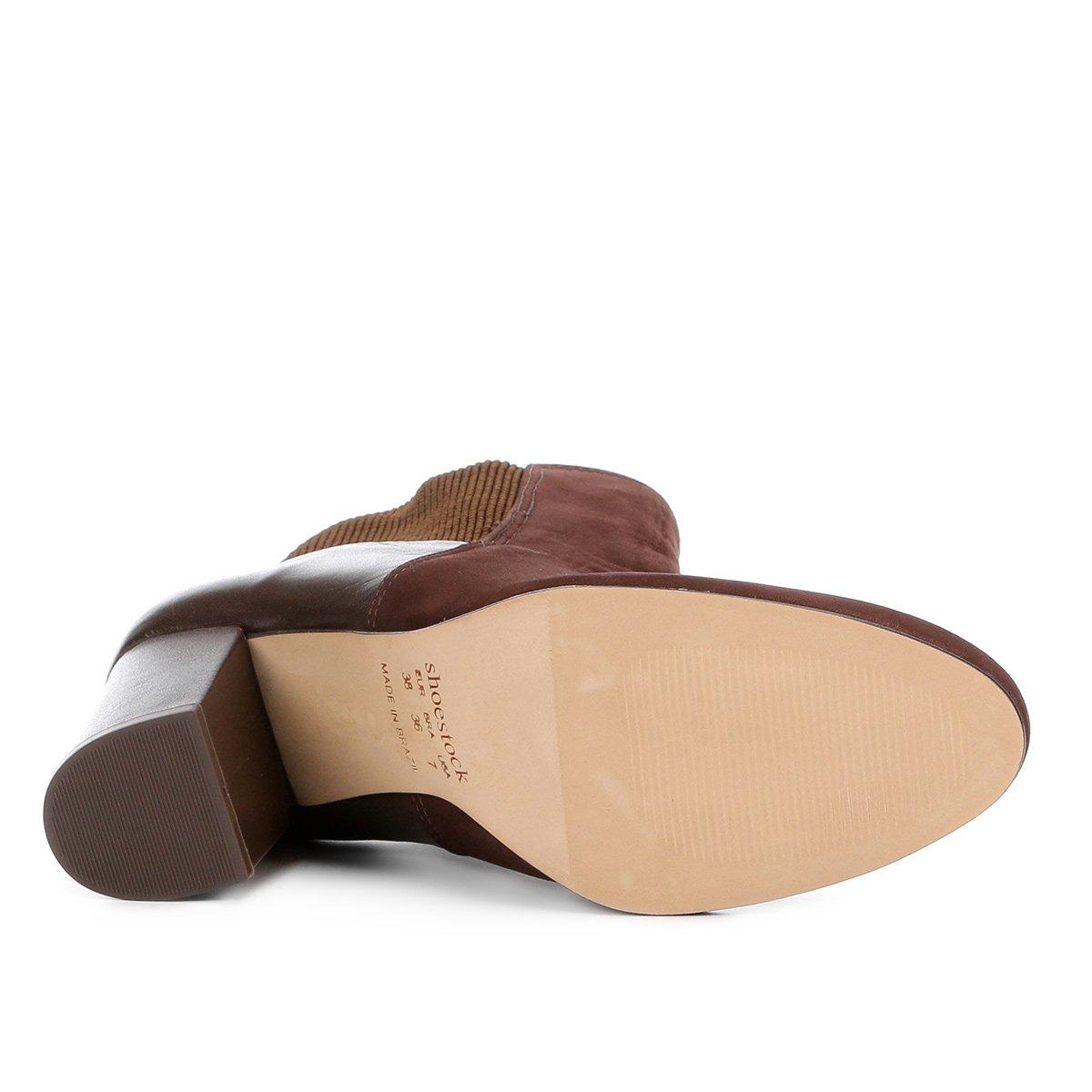Bota Feminina Cano Feminina Salto Shoestock Curto Bota Grosso Shoestock Salto Café Cano Café Couro Couro Curto Bota Grosso HqAHRxran