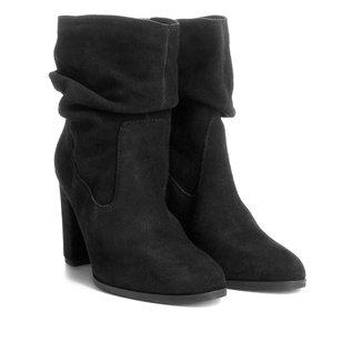 Bota Couro Cano Curto Shoestock Slouch Feminina