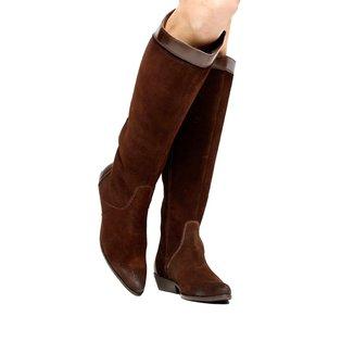 Bota Couro Cano Longo Shoestock Flat Mix Materiais Feminino