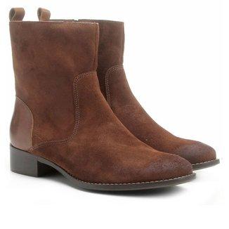 Bota Couro Cano Médio Shoestock Flat Feminino