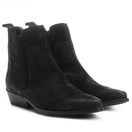 Bota Couro Chelsea Shoestock Bico Fino Elásticos Transpassados Feminina - Preto