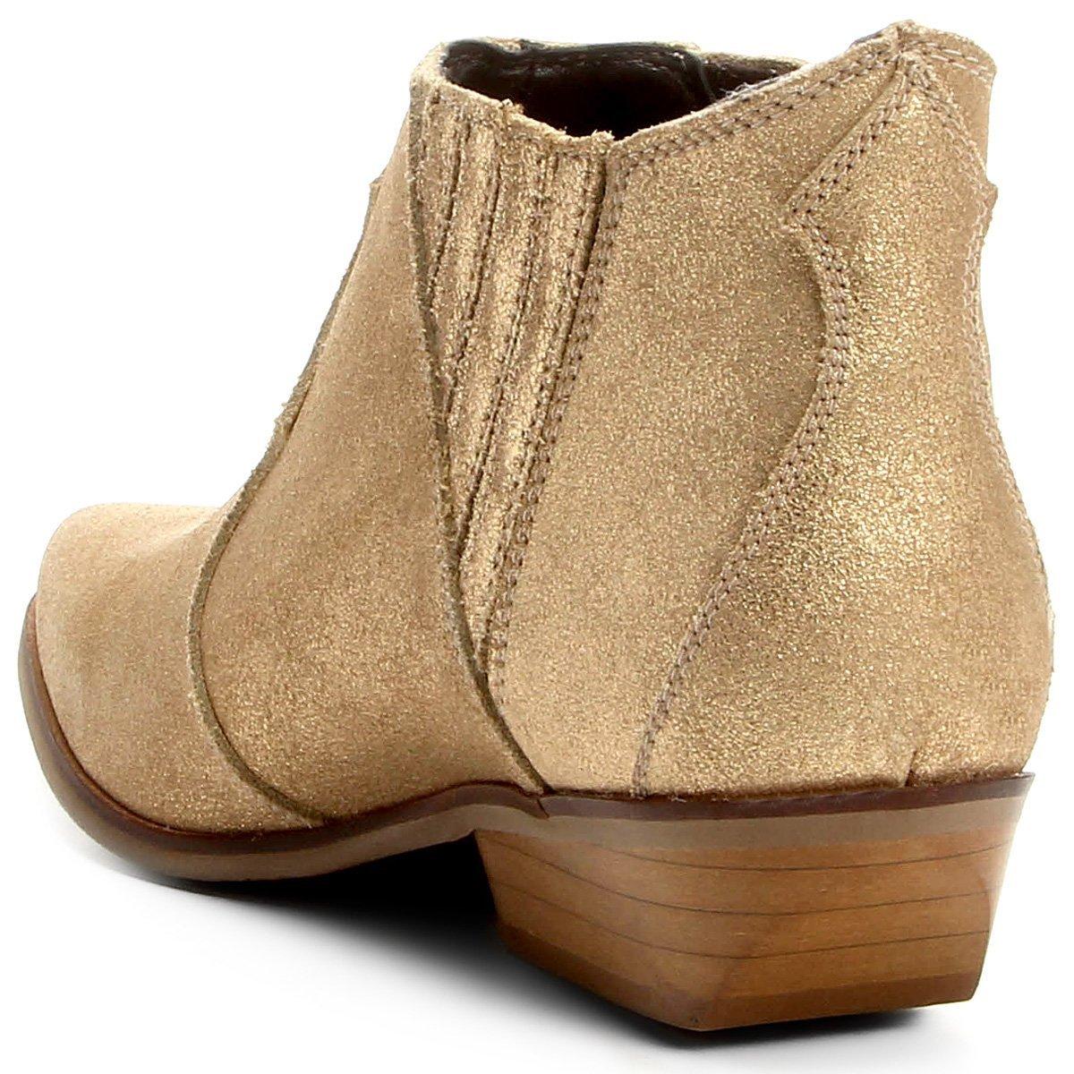 Bota Couro Chelsea Shoestock Cano Curto Feminina - Dourado