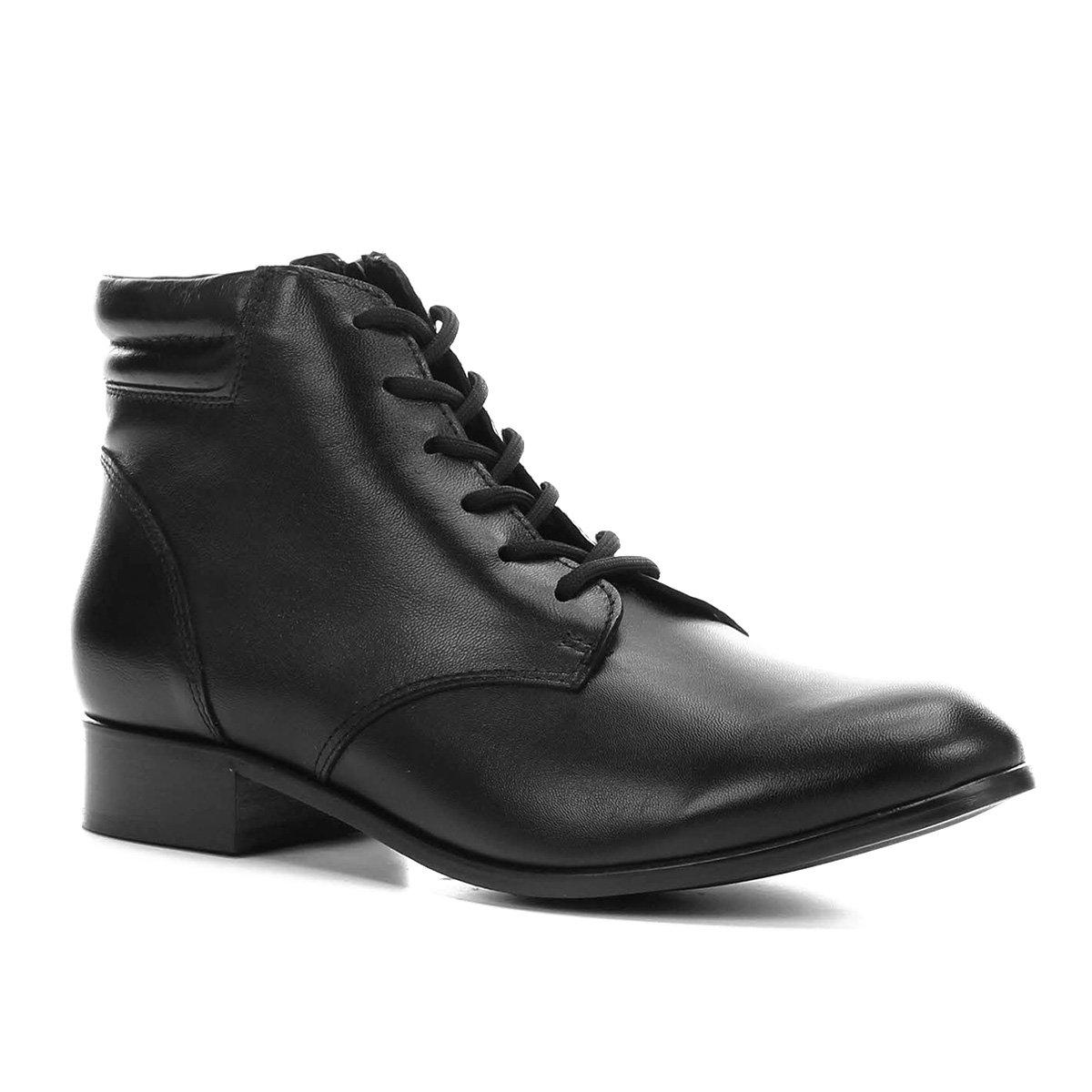 34363df0f1c3d Bota Couro Coturno Shoestock Feminina - Preto - Compre Agora   Zattini