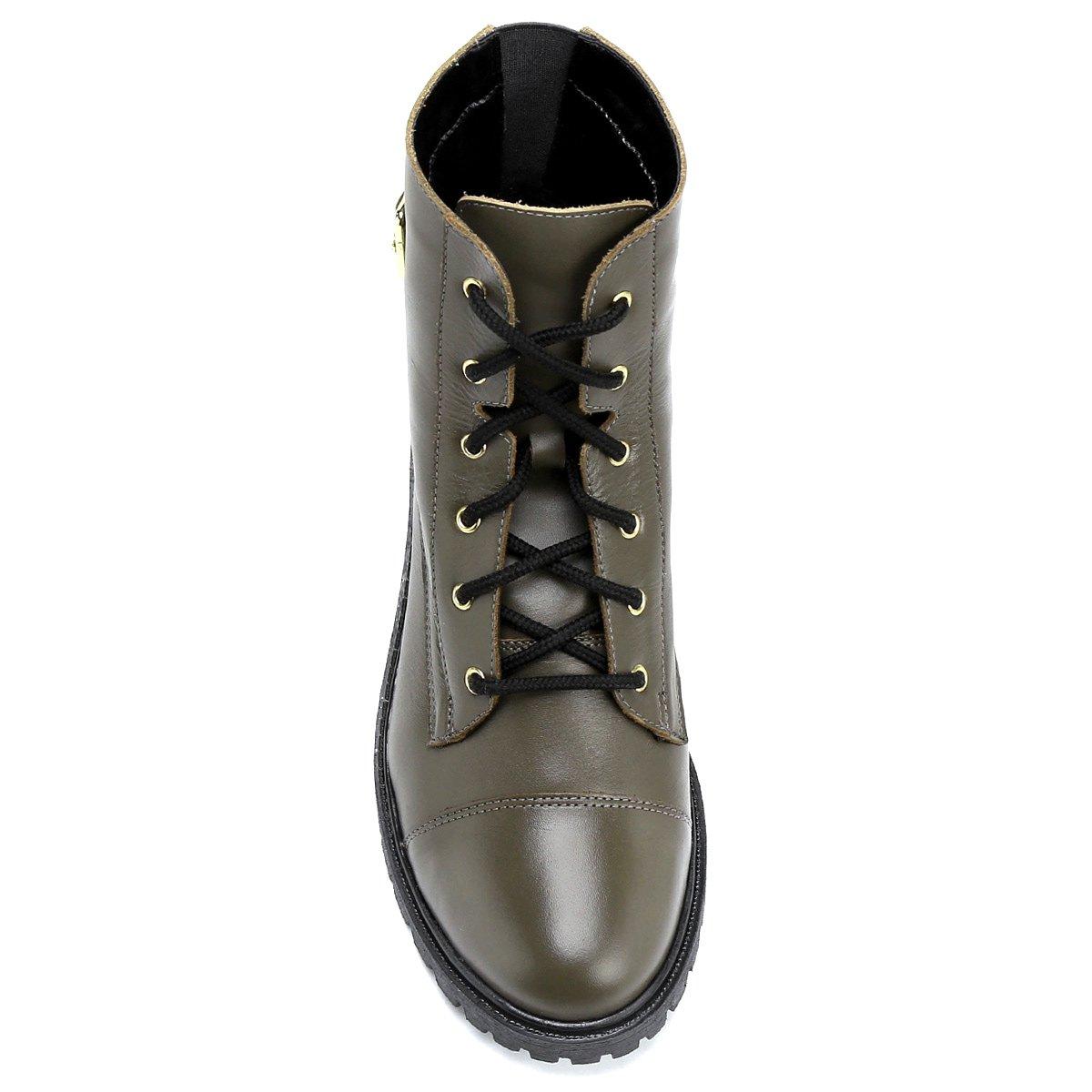 1dc7a63dbdb0c Bota Couro Coturno Shoestock Fivela Feminina - Oliva - Compre Agora ...