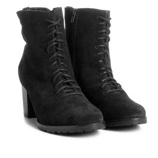 Bota Couro Coturno Shoestock Tratorada Feminina