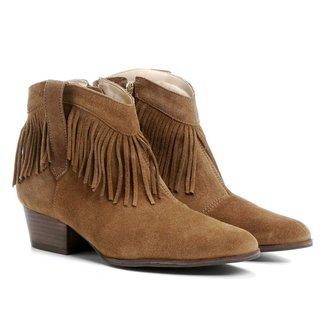 Bota Couro Country Shoestock Franja Feminina