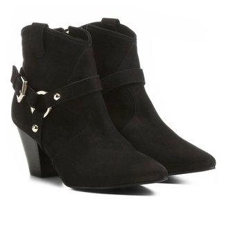 Bota Couro Country Shoestock Salto Selaria Feminina