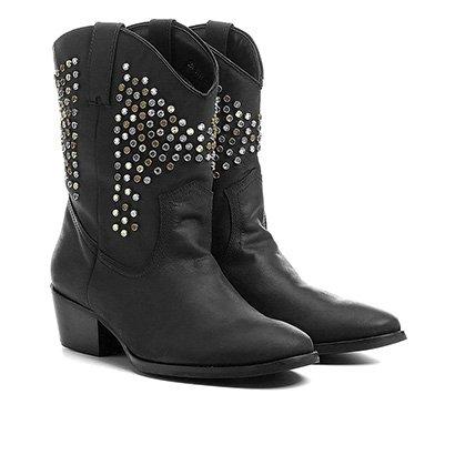 7590a3e8a Bota Couro Country Shoestock Tachas E Pedras Feminina-Feminino ...