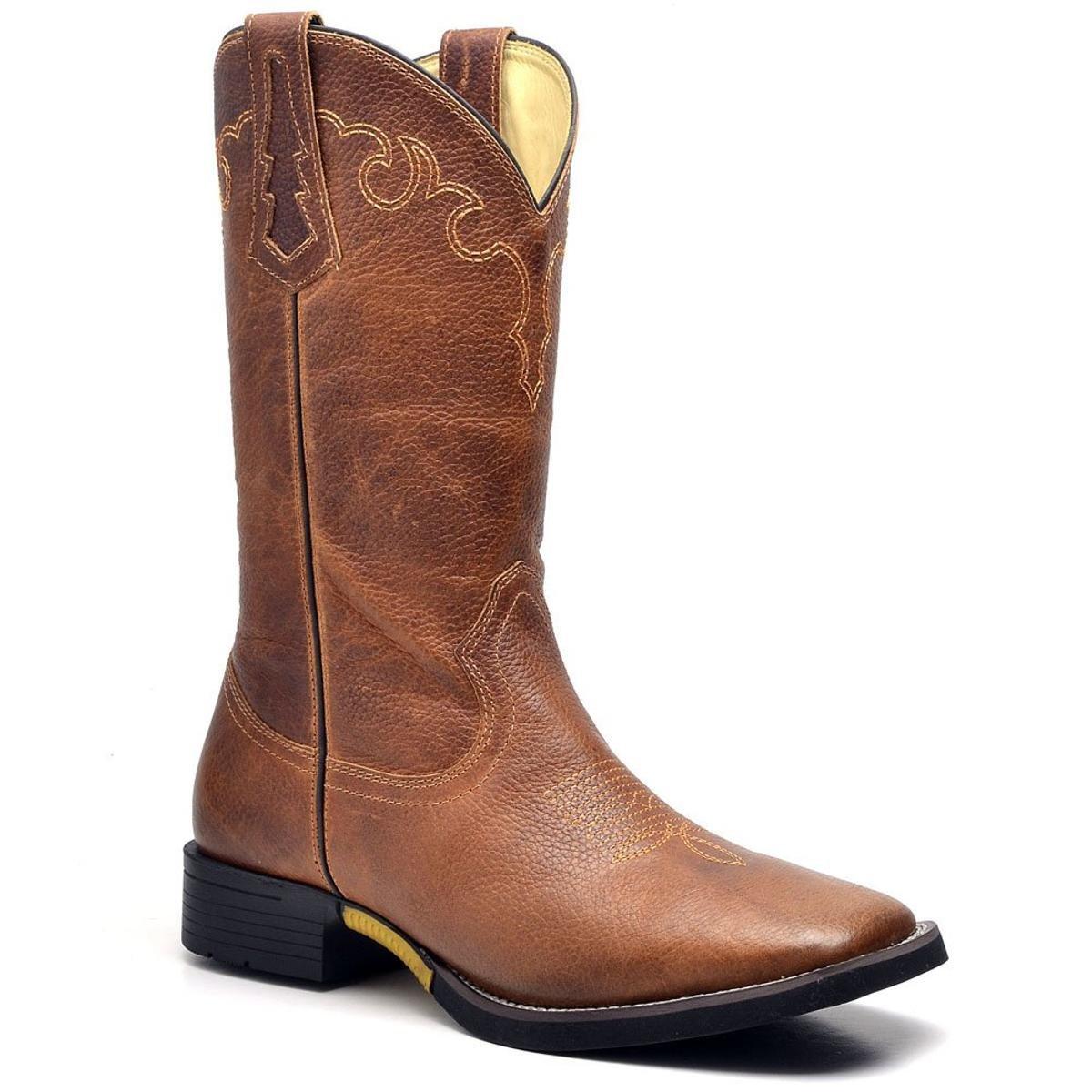 Bota Couro Country Texana Top Franca Shoes Masculino - Marrom ... 92ecb7e8238