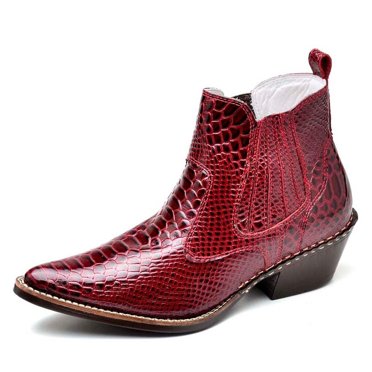 Bota Couro Country Top Franca Shoes Masculino - Vermelho