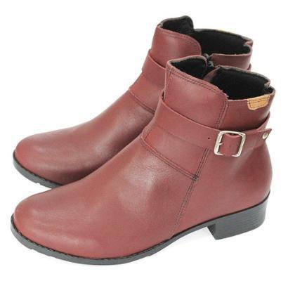 Bota Couro Dali Shoes Cano Curto Salto Baixo Fivela Metal Feminino-Feminino