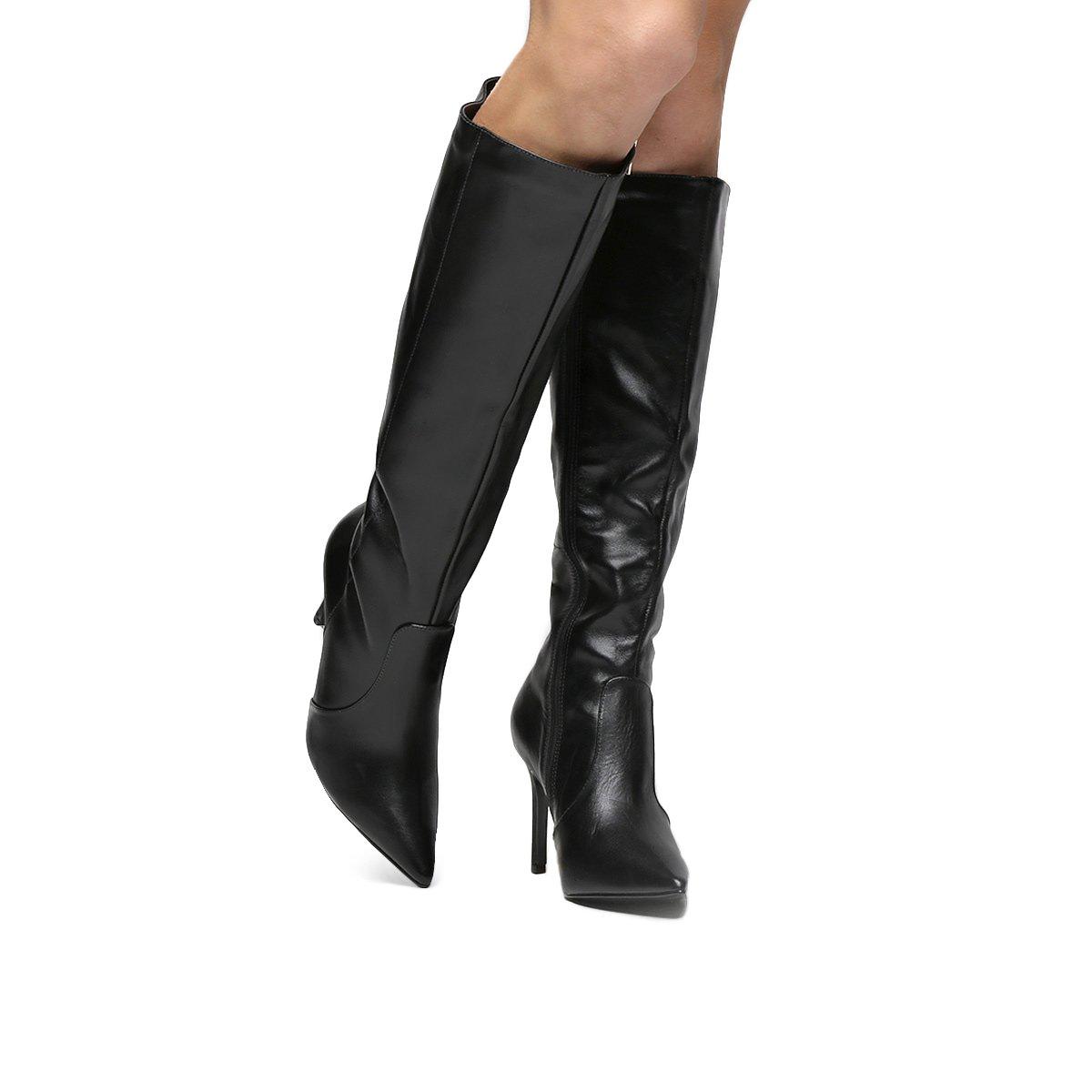 Bota Feminina Bico Bota Couro Preto Montaria Fino Shoestock Couro rBr0Xqw