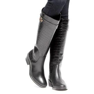 Bota Couro Montaria Shoestock Croco Feminina