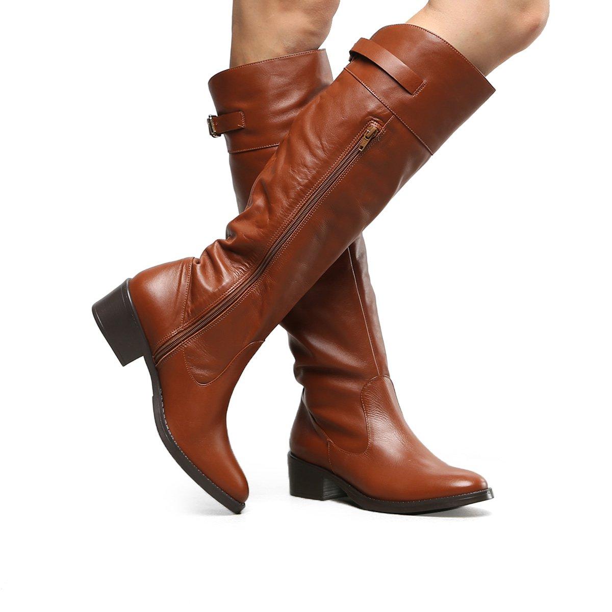 Marrom Couro Bota Flat Montaria Bota Feminina Couro Shoestock UTw70q