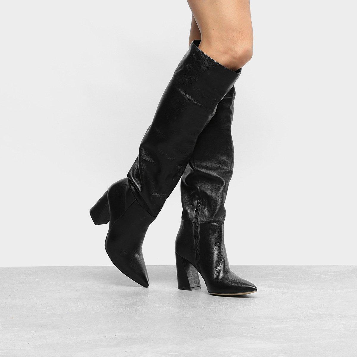 5b83e6ac23 Bota Couro Over The Knee Dumond Slouch Feminina - Preto - Compre ...