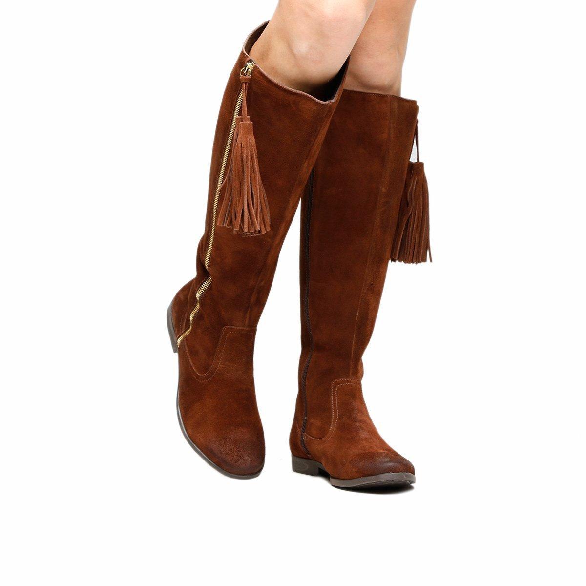 4b5e6f2022 Bota Couro Over the Knee Shoestock Barbicacho Feminino - Marrom - Compre  Agora