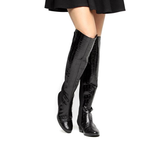 Bota Couro Over the Knee Shoestock Croco Feminina - Preto