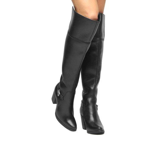 Bota Couro Over the Knee Shoestock Fivela Feminina - Preto